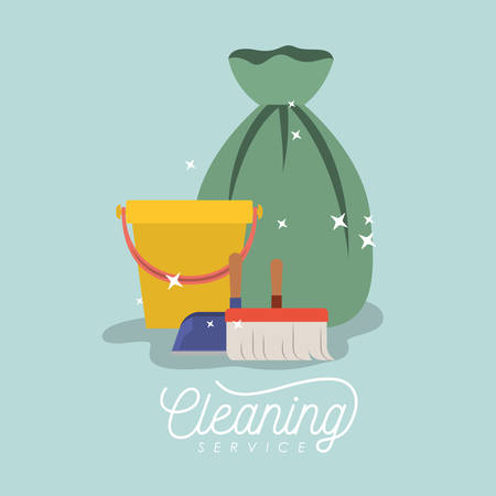 antiseptic: scrub brush and dust pan bucket and garbage bag cleaning service on color background vector illustration Illustration