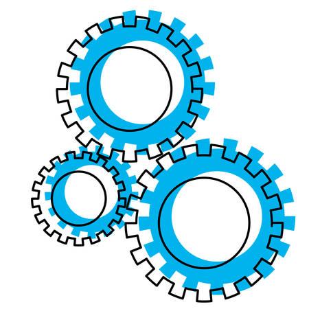 icône de jeu de pignons bleu aquarelle silhouette illustration vectorielle