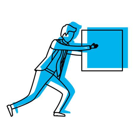 businessman holding a square block blue watercolor silhouette vector illustration