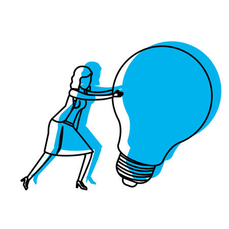 business graphics: businesswoman pushing a big light bulb in blue watercolor silhouette vector illustration