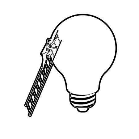 businessman climbing wooden stairs in a big light bulb black silhouette and thick contour vector illustration