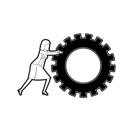 businesswoman pushing a big gears cogwheel black silhouette and thick contour vector illustration
