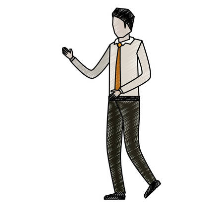 businessman faceless in shirt with tie to pencils colored silhouette vector illustration