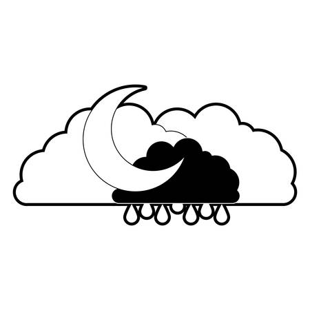 clouds with rain and half moon in black section silhouette on white background vector illustration Illustration