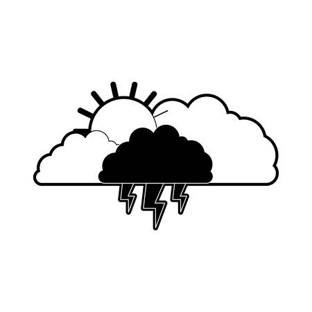rainy season: clouds with lightnings and sun in black section silhouette on white background vector illustration