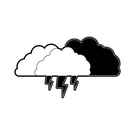 clouds with lightnings in black section silhouette on white background vector illustration