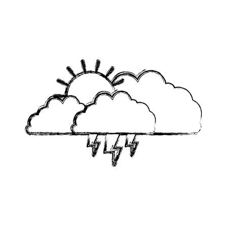 rainy season: clouds with lightnings and sun in blurred silhouette on white background vector illustration