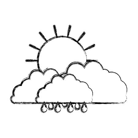 clouds with rain and sun in blurred silhouette on white background vector illustration Illustration