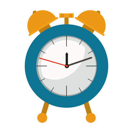 alarm clock in colorful silhouette on white background vector illustration