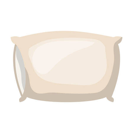 Bed pillow in colored silhouette on white background vector illustration