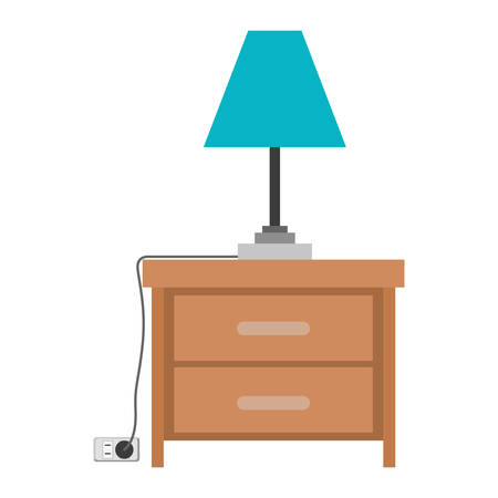 nightstand with lamp in colorful silhouette on white background vector illustration