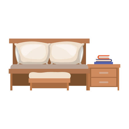 bedside: bedroom with sofa bed and books over nightstand in colorful silhouette on white background vector illustration Illustration