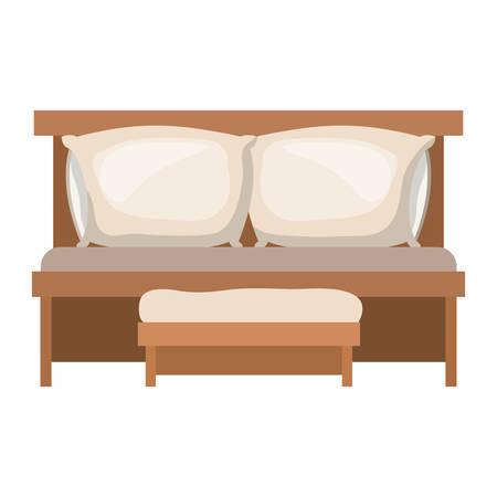 Schlafsofa mit Doppel-Kissen und Holzstuhl in bunten Silhouette auf weißem Hintergrund Vektor-Illustration Standard-Bild - 85059426