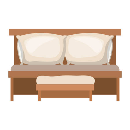sofa bed with double pillows and wooden chair in colorful silhouette on white background vector illustration Illustration