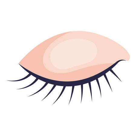 eye closed female closeup in colorful silhouette on white background vector illustration Illustration