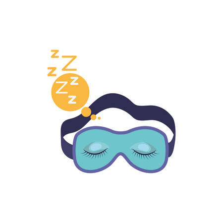 snoring: sleep mask with snoring sign in bubble callout in colorful silhouette on white background vector illustration