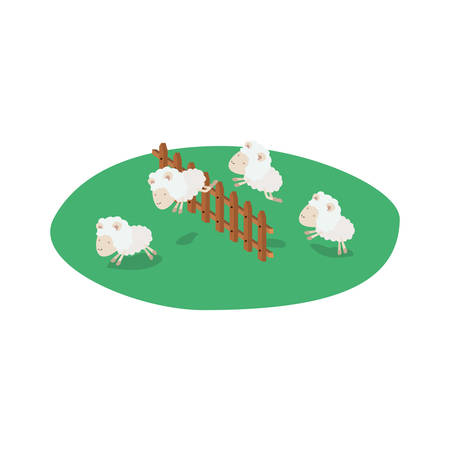 Sheeps jump wooden fence grass in colorful silhouette on white background vector illustration