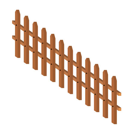 wooden fence large in colorful silhouette on white background vector illustration