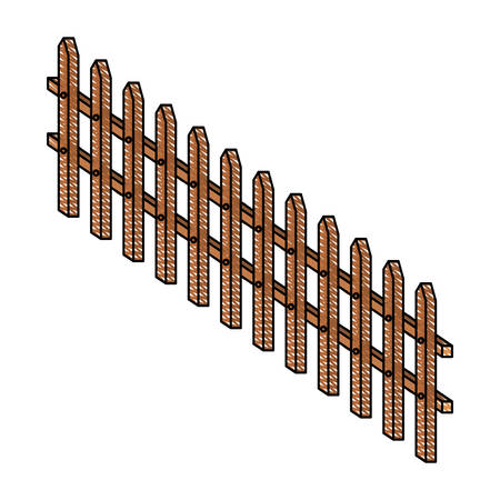 wooden fence large in color crayon silhouette on white background vector illustration Illustration