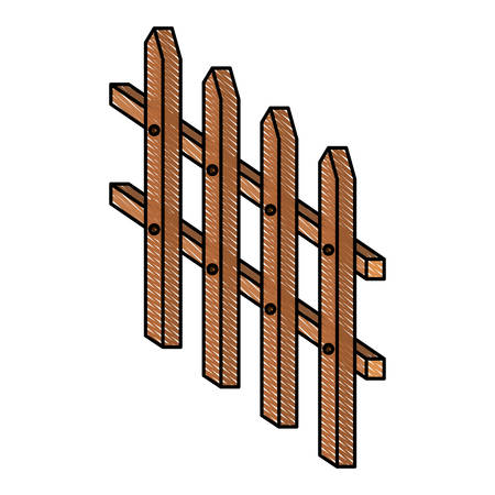 wooden fence small in color crayon silhouette on white background vector illustration