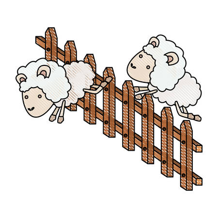 Sheep animal couple jumping a wooden fence in color crayon silhouette on white background vector illustration Illustration