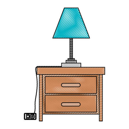 Nightstand with lamp in color crayon silhouette on white background vector illustration