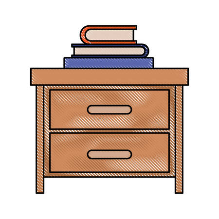 bedside: nightstand with stack books in color crayon silhouette on white background vector illustration Illustration