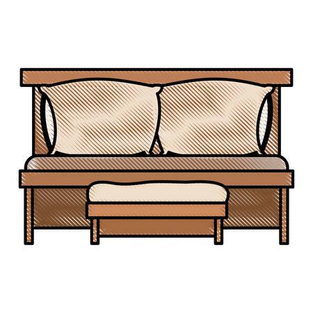 ソファベッド ダブル枕、白い背景のベクトル図に色クレヨン シルエットの木製椅子付け  イラスト・ベクター素材