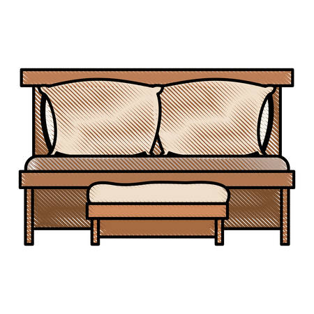 sofa bed with double pillows and wooden chair in color crayon silhouette on white background vector illustration