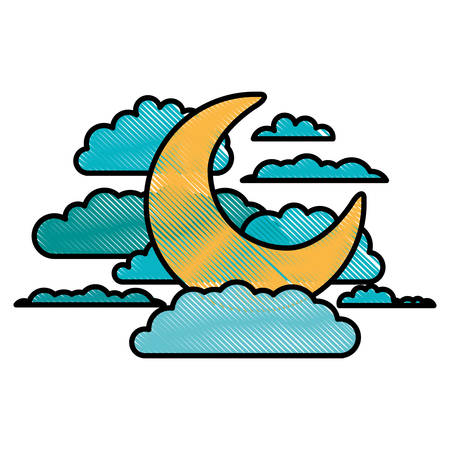 moon and clouds in night landscape in color crayon silhouette on white background vector illustration