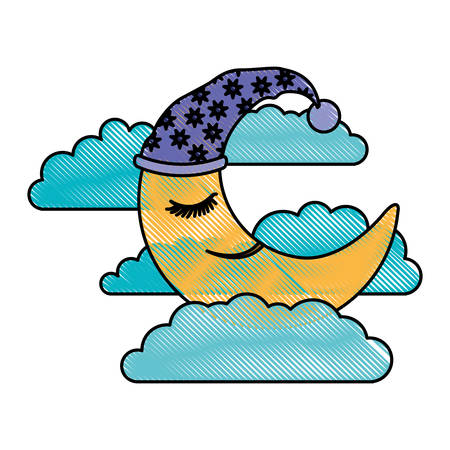 moon half caricature with sleeping cap into the clouds in color crayon silhouette on white background vector illustration Illustration