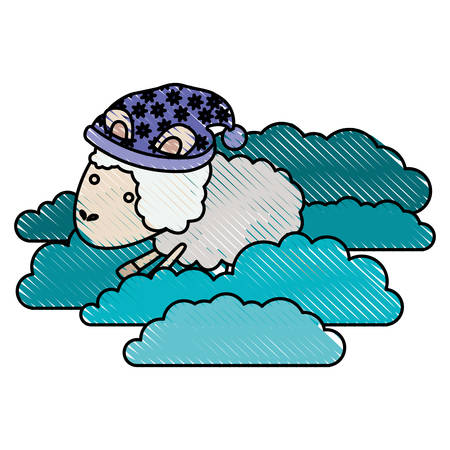 sheep animal with sleeping cap into the clouds in color crayon silhouette on white background vector illustration Illustration