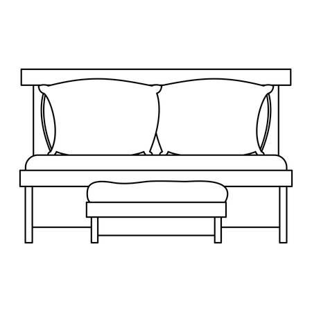 ソファベッド ダブル枕、白い背景のベクトル図に木製椅子スケッチ シルエット、