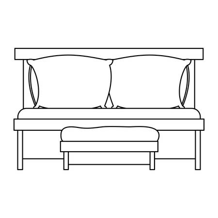 sofa bed with double pillows and wooden chair sketch silhouette on white background vector illustration Illustration