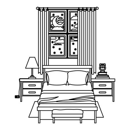 bedside: bedroom with window in the night landscape sketch silhouette on white background vector illustration Illustration