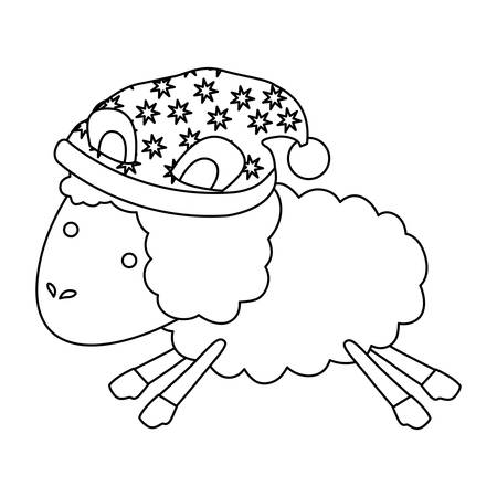 nap: sheep animal with sleeping cap jumping sketch silhouette on white background vector illustration Illustration