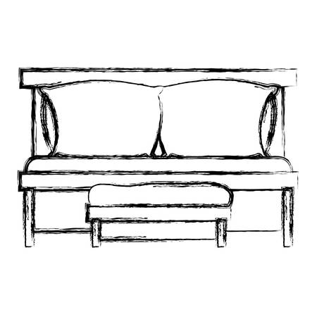 sofa bed with double pillows and wooden chair blurred silhouette on white background vector illustration Illustration