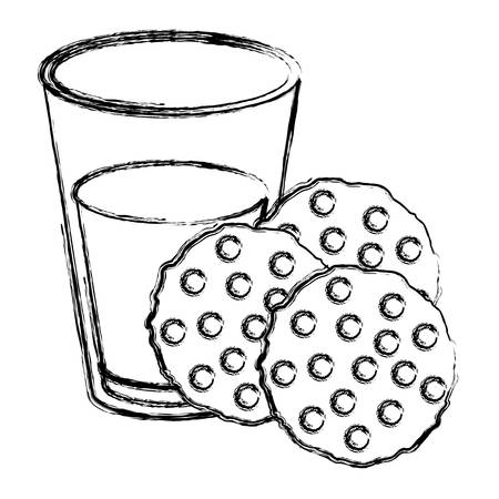 pasteurized: chocolate chip cookies with glass of milk blurred silhouette on white background vector illustration Illustration