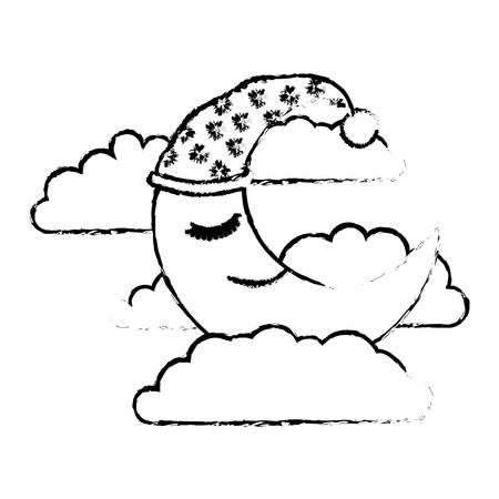 moon half caricature with sleeping cap into the clouds blurred silhouette on white background vector illustration