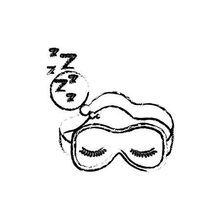 sleep mask with snoring sign in bubble callout blurred silhouette on white background vector illustration