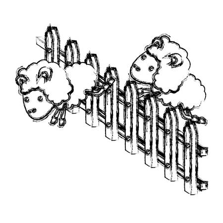 salto de valla: sheep animal couple jumping a wooden fence blurred silhouette on white background vector illustration