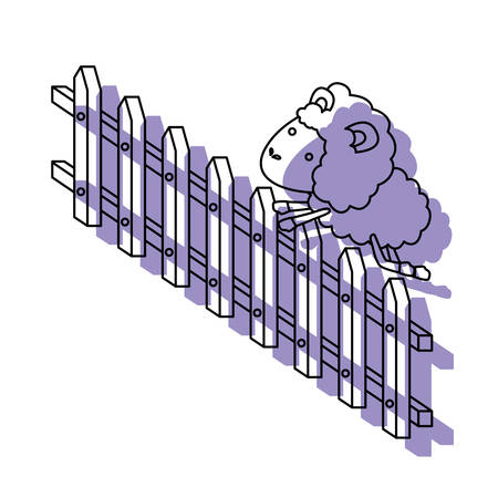 sheep animal jumping a wooden fence purple watercolor silhouette on white background vector illustration