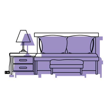 bedside: bedroom with sofa bed and lamp over nightstand purple watercolor silhouette on white background vector illustration Illustration