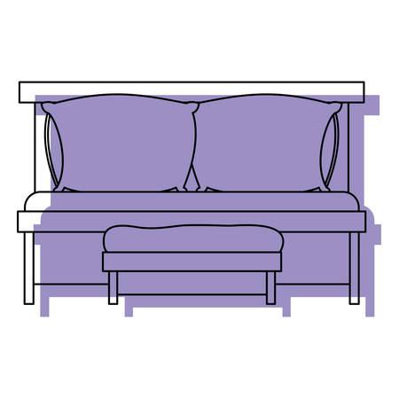 ソファベッド ダブル枕、木製椅子紫白背景ベクトル イラストを水彩シルエット、  イラスト・ベクター素材