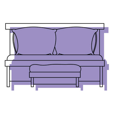 sofa bed with double pillows and wooden chair purple watercolor silhouette on white background vector illustration Illustration