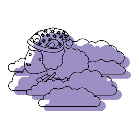 sheep animal with sleeping cap into the clouds purple watercolor silhouette on white background vector illustration