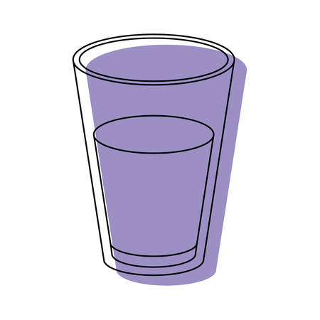 pasteurized: glass of milk purple watercolor silhouette on white background vector illustration