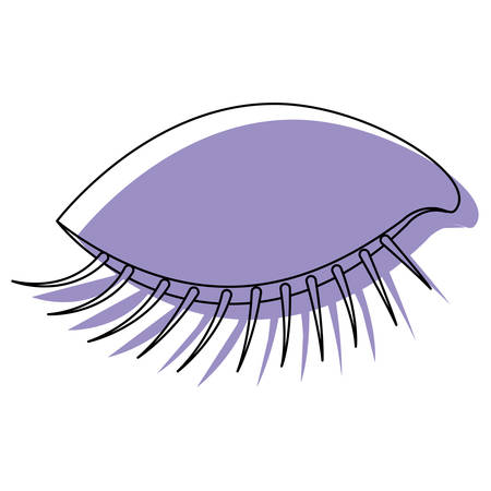 eye closed female closeup purple watercolor silhouette on white background vector illustration Illustration