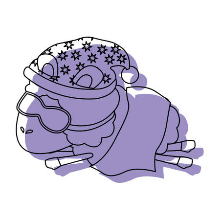 sheep animal with sleeping cap and sleep mask wrapped in a blanket purple watercolor silhouette on white background vector illustration