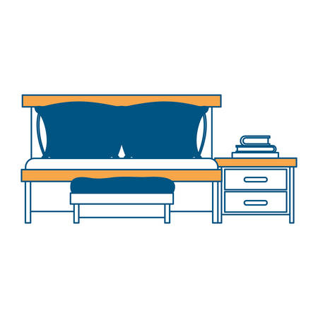 bedside: bedroom with sofa bed and books over nightstand color section silhouette on white background vector illustration Illustration
